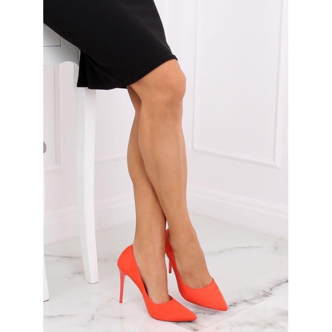 Semišové dámske lodičky oranžovej farby na štíhlom podpätku