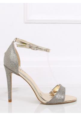 Zlaté trblietavé sandále na štíhlom opätku pre dámy