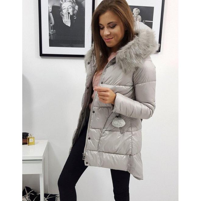Prešívaná dámska bunda béžovej farby na zimu
