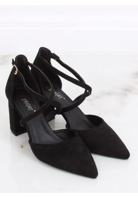 Dámske semišové sandále na širokom opätku v čiernej farbe