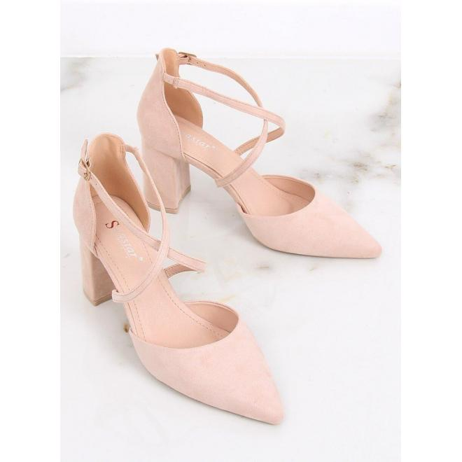 Semišové dámske sandále béžovej farby na širokom opätku