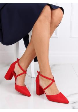 Červené semišové sandále na širokom opätku pre dámy