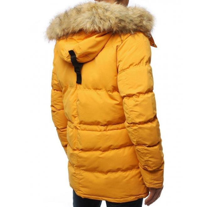Pánska zimná bunda s odopínacou kapucňou v žltej farbe