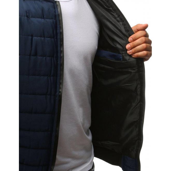 Tmavomodrá prešívaná Bomber bunda na jeseň pre pánov