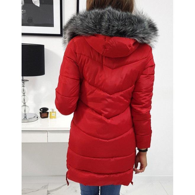 Červená zimná bunda s kapucňou pre dámy