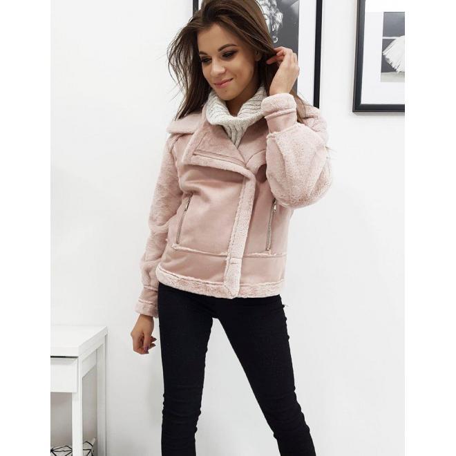 Dámska zimná bunda s asymetrickým zipsom v ružovej farbe