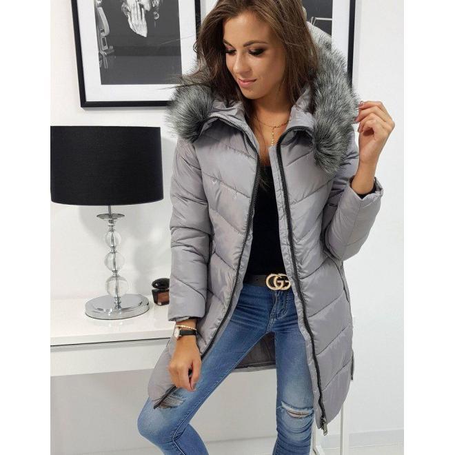 Sivá prešívaná bunda na zimu pre dámy