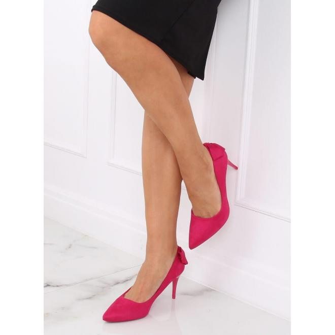 Ružové semišové lodičky na podpätku s mašľou pre dámy