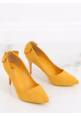 Dámske semišové lodičky na podpätku s mašľou v žltej farbe