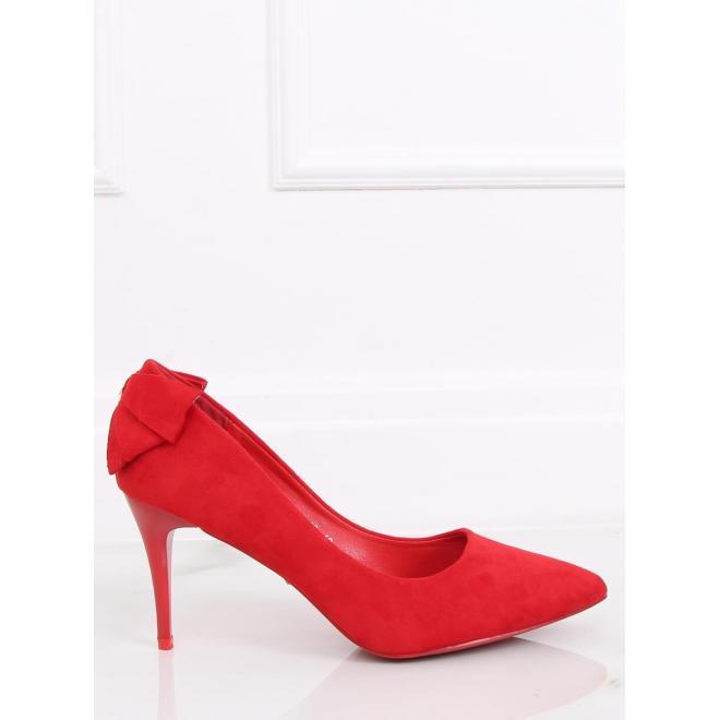 Semišové dámske lodičky červenej farby na podpätku s mašľou