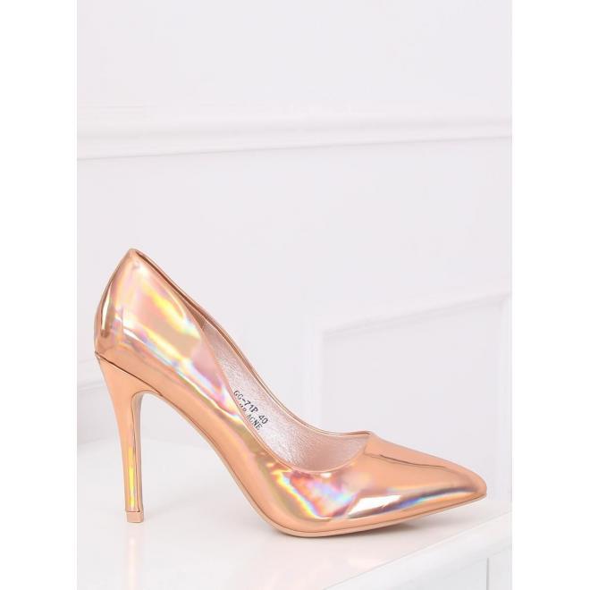 Ružovo-zlaté metalické lodičky na stabilnom podpätku pre dámy