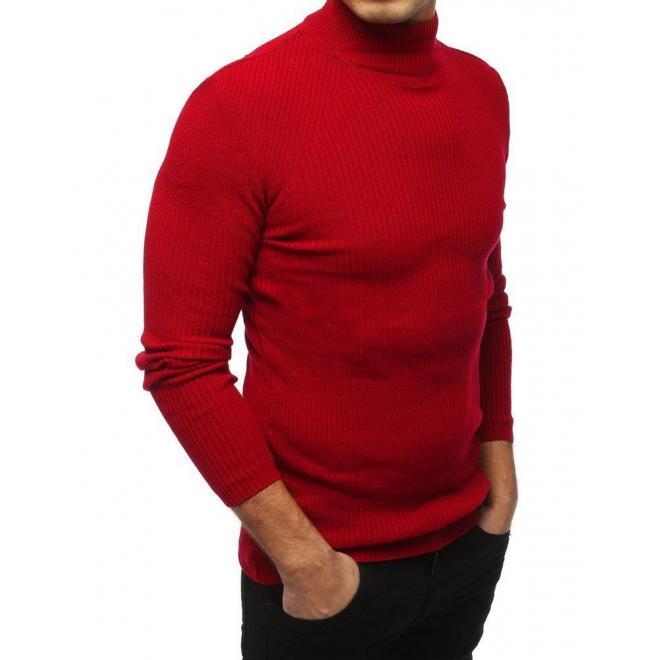 Teplý pánsky rolák červenej farby