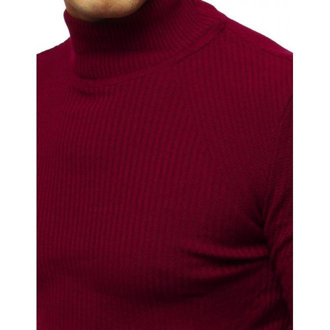 Pánsky teplý rolák v bordovej farbe