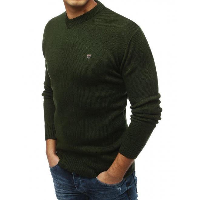 Štýlový pánsky sveter kaki farby s výstrihom v tvare V