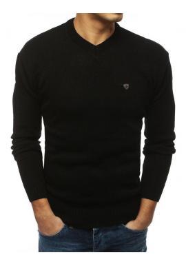 Pánsky štýlový sveter s výstrihom v tvare V v čiernej farbe