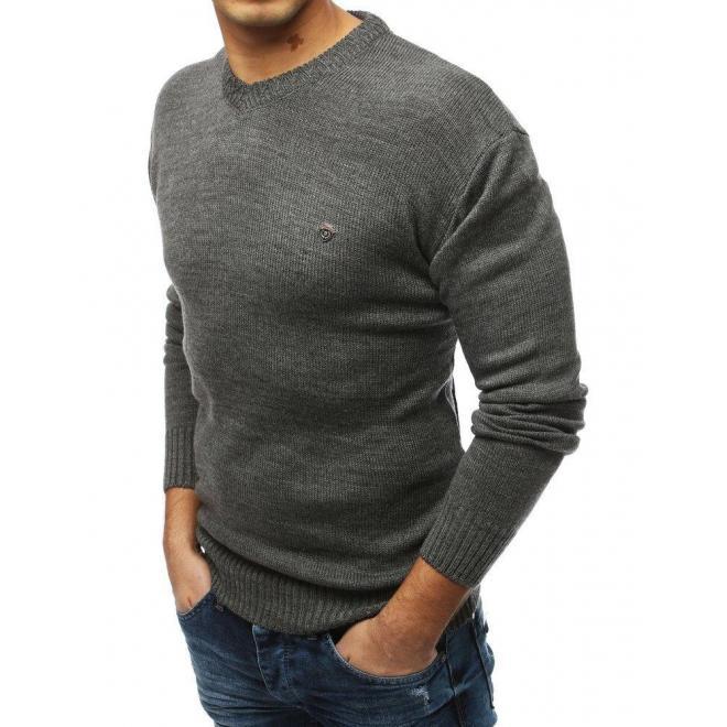 Tmavosivý štýlový sveter s výstrihom v tvare V pre pánov