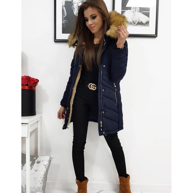 Tmavomodrá prešívaná bunda na zimu pre dámy