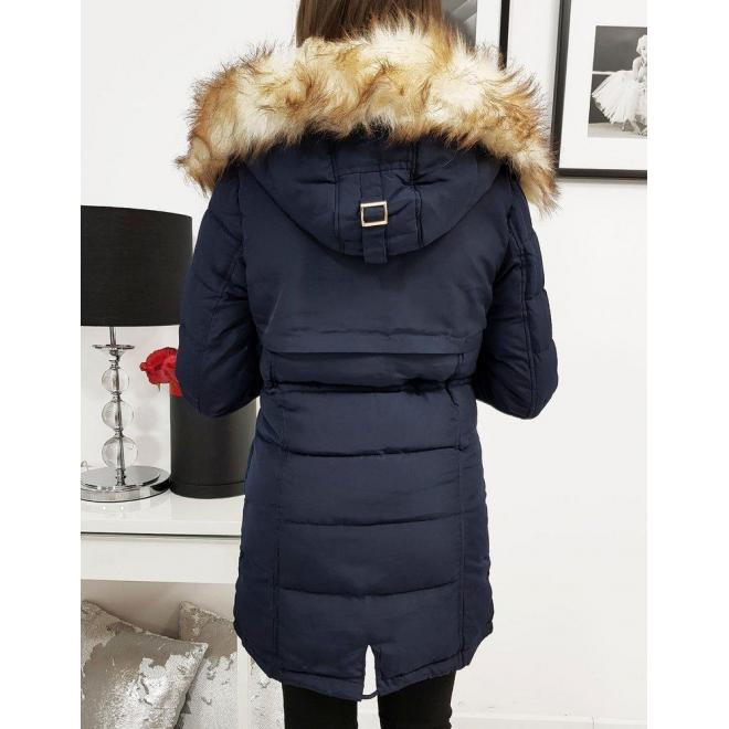 Dámska zimná bunda s kapucňou v tmavomodrej farbe