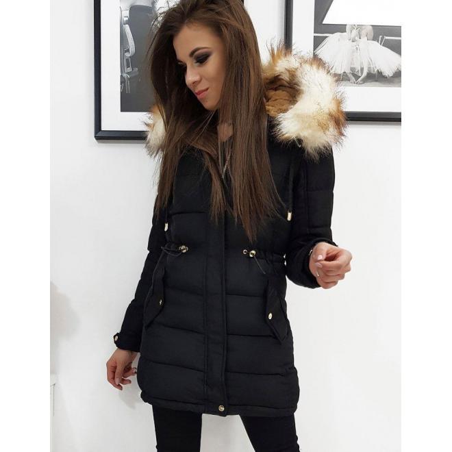 Čierna zimná bunda s kapucňou pre dámy