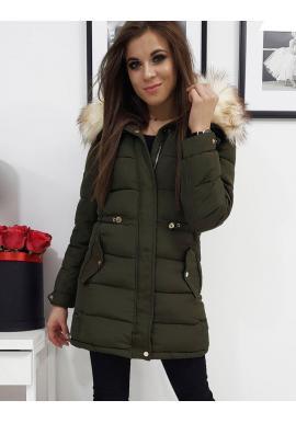 Zimné dámske bundy olivovej farby s kapucňou