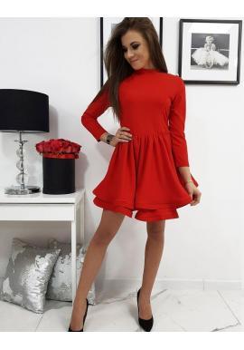 Dámske hladké šaty s rozšírenou sukňou v červenej farbe