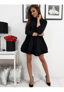 Hladké dámske šaty čiernej farby s rozšírenou sukňou