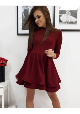 Bordové hladké šaty s rozšírenou sukňou pre dámy