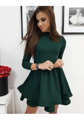 Dámske hladké šaty s rozšírenou sukňou v zelenej farbe