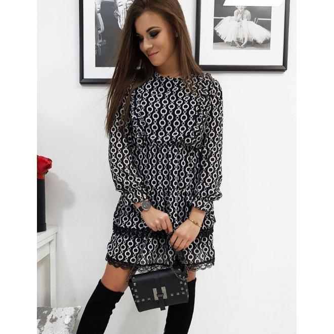 Čierne vzorované šaty s ozdobnou čipkou pre dámy