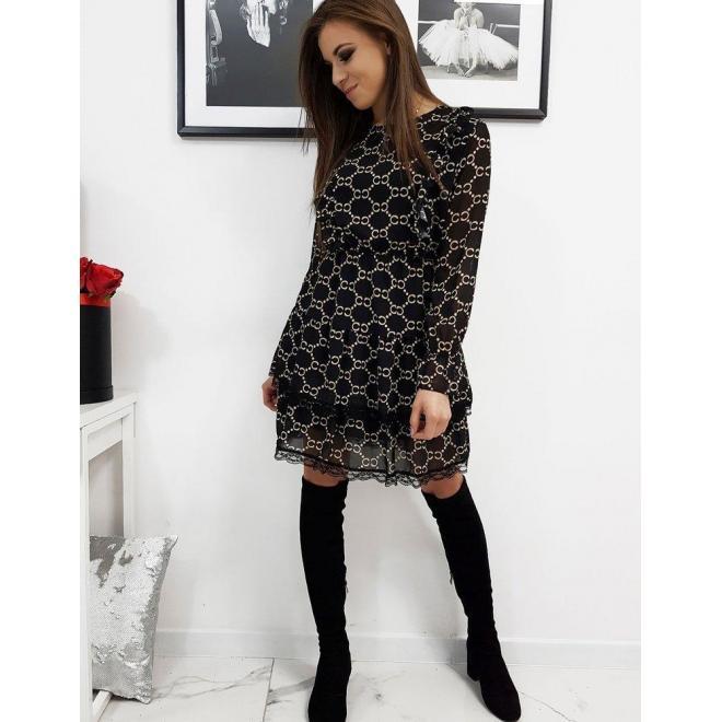 Vzorované dámske šaty čiernej farby s ozdobnou čipkou