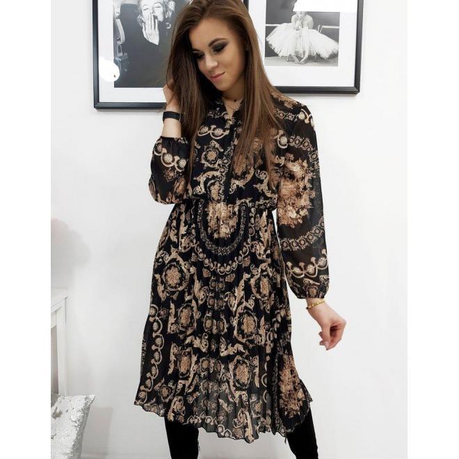 Čierne plisované šaty so vzorom pre dámy