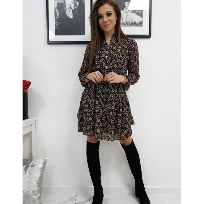 Dámske vzorované šaty s volánmi v čiernej farbe