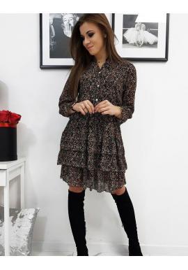 Čierne vzorované šaty s volánmi pre dámy