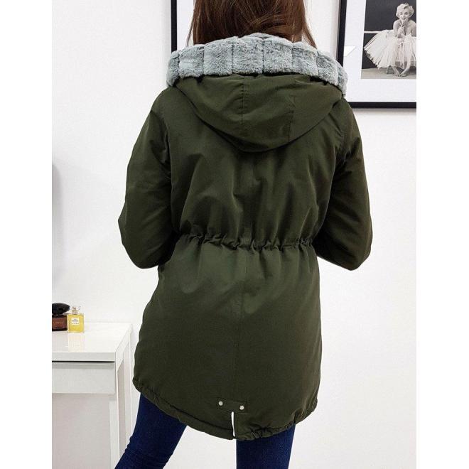 Olivová zimná bunda s kapucňou pre dámy