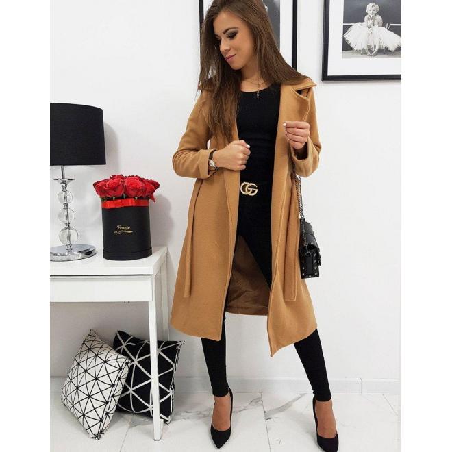 Hnedý elegantný kabát s viazaním pre dámy