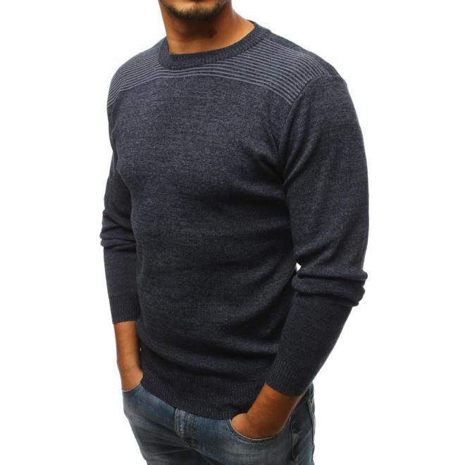 Tmavosivý klasický sveter s okrúhlym výstrihom pre pánov