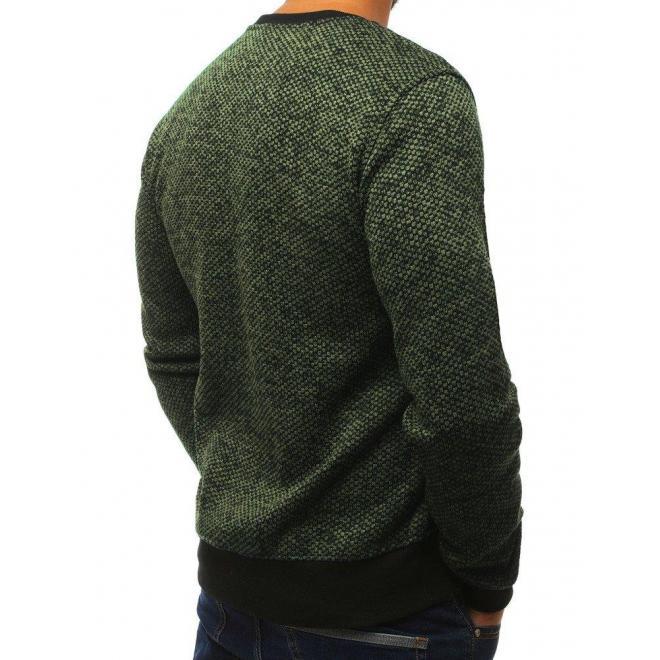 Klasická pánska mikina zelenej farby bez kapucne