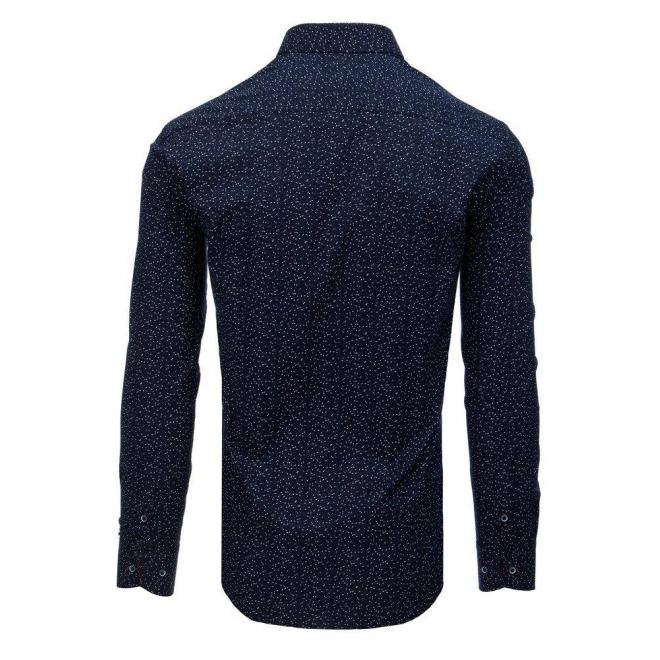 Pánska štýlová košeľa so vzorom v tmavomodrej farbe