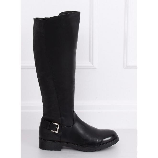 Oteplené dámske čižmy čiernej farby s prackou