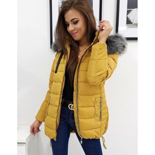 Žltá prešívaná bunda s odopínacou kapucňou pre dámy