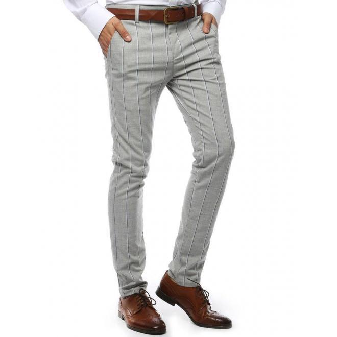 Pásikavé pánske nohavice svetlosivej farby