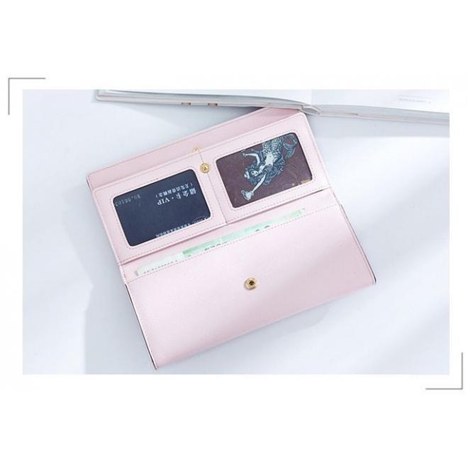 Dámska veľká peňaženka s mačkou v pastelovo ružovej farbe