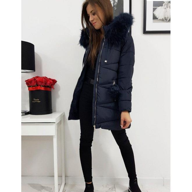 Zimná dámska bunda tmavomodrej farby s kapucňou