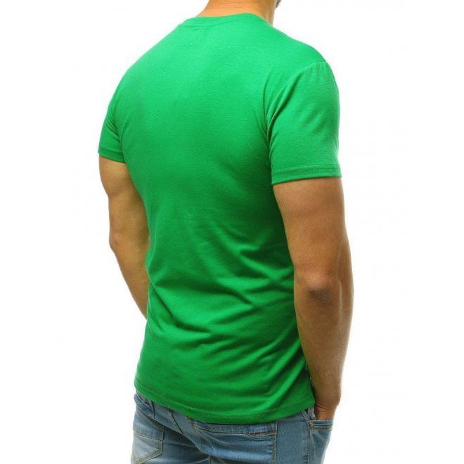 Zelené klasické tričko s okrúhlym výstrihom pre pánov