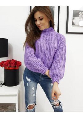 Dámsky módny sveter s polrolákom vo fialovej farbe