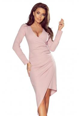 Staroružové asymetrické šaty s výstrihom pre dámy