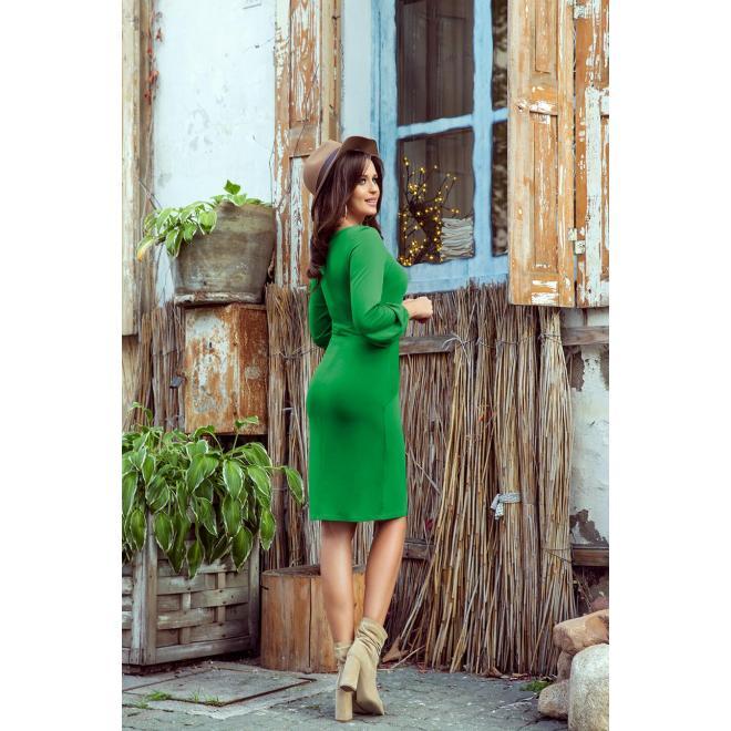 Pohodlné dámske šaty zelenej farby s viazaním v páse