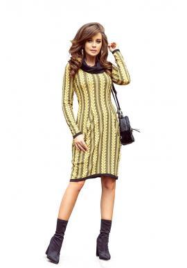 Vzorované dámske šaty žlto-čiernej farby s rolákom