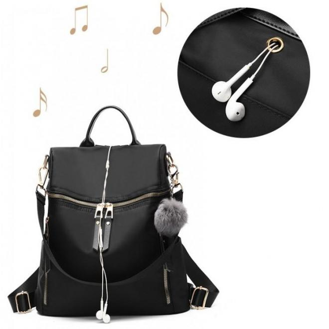 Čierny elegantný ruksak so zlatým zapínaním pre dámy