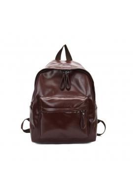 Dámsky klasický ruksak z ekokože v hnedej farbe